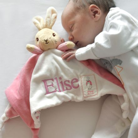 Personalised Beatrix Potter Flopsy Bunny Baby Comforter